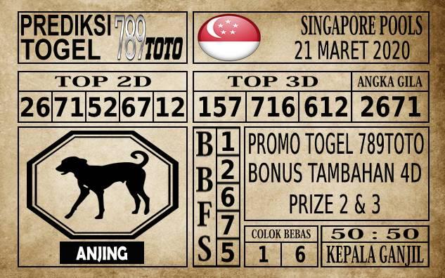 Prediksi Singapore Pools Hari ini 21 Mar 2020