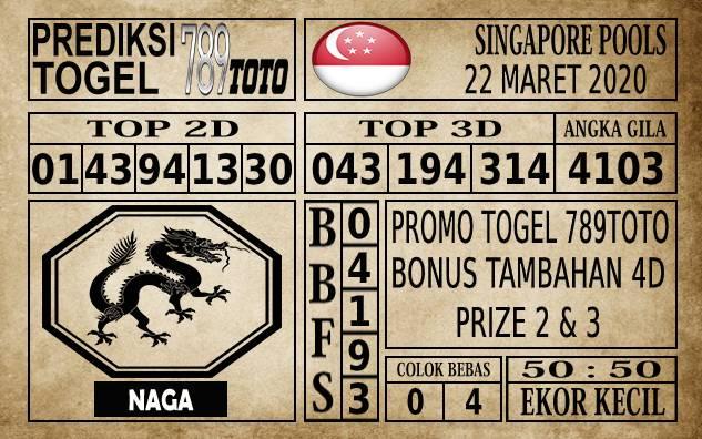 Prediksi Singapore Pools Hari ini 22 Mar 2020