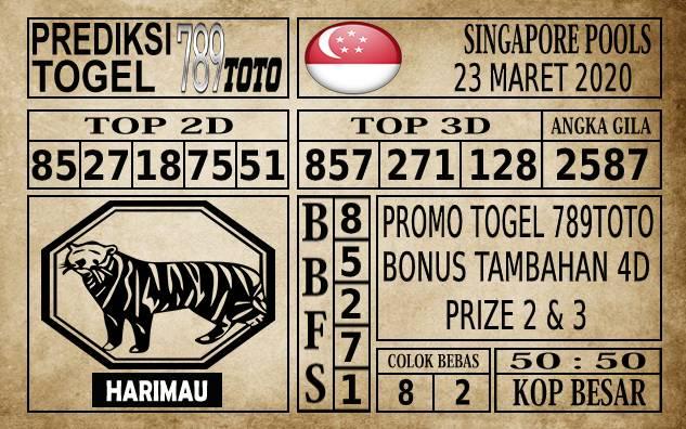 Prediksi Singapore Pools Hari ini 23 Mar 2020