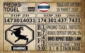 Prediksi Thailand Lottery Hari Ini 16 Mar 2020