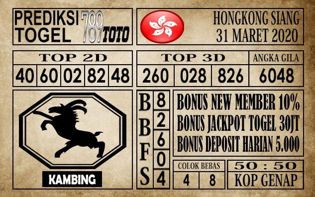 Prediksi Hongkong siang 31 Maret 2020