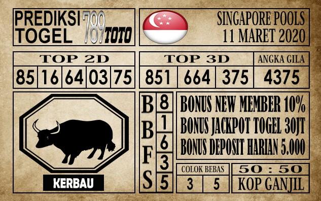 Prediksi Singapore Pools Hari ini 11 Mar 2020