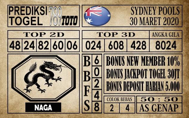 Prediksi Sydney pools 30 Maret 2020