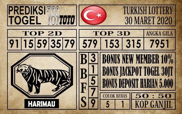Prediksi Turkish Lottery 30 maret 2020