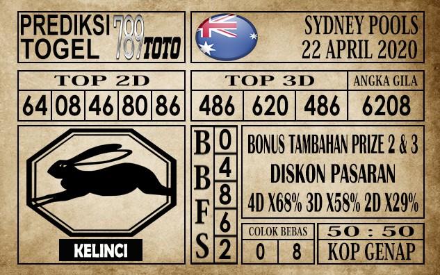 Prediksi Sydney pools 22 April 2020