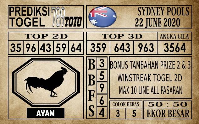 Prediksi Sydney Pools Hari Ini 22 Juni 2020