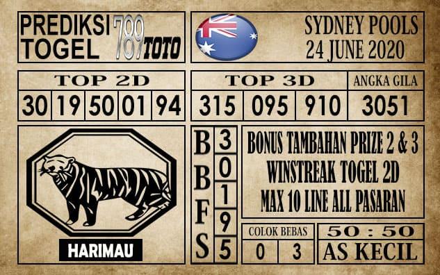 Prediksi Sydney Pools Hari Ini 24 Juni 2020