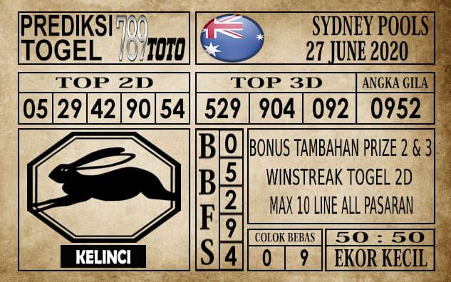 Prediksi Sydney Pools Hari Ini 27 Juni 2020