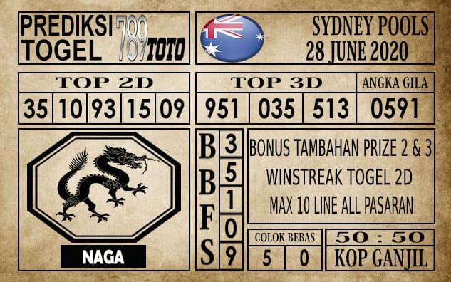 Prediksi Sydney Pools Hari Ini 28 Juni 2020