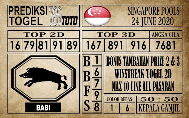 Prediksi Singapore Pools Hari ini 24 Juni 2020