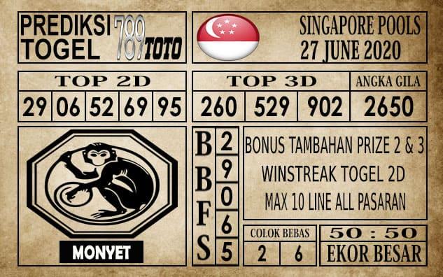 Prediksi Singapore Pools Hari ini 27 Juni 2020