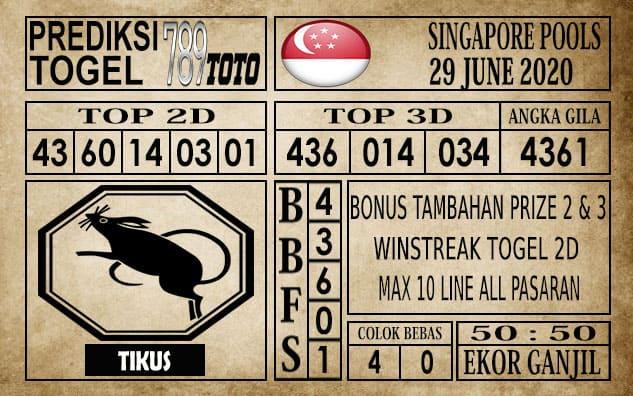 Prediksi Singapore Pools Hari ini 29 Juni 2020