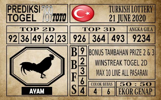 Prediksi Turkish Lottery Hari Ini 21 Juni 2020