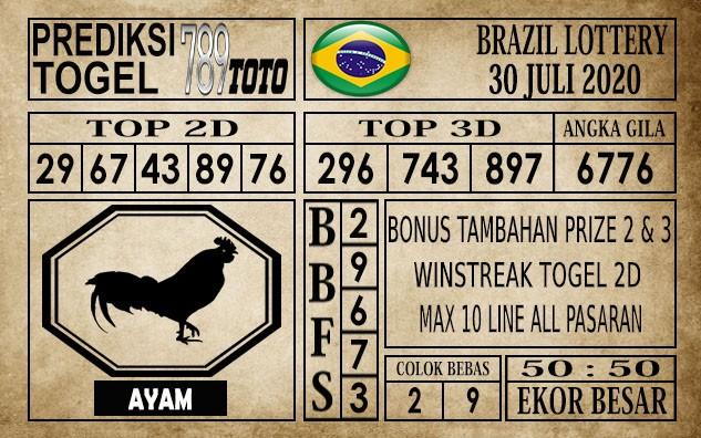Prediksi Brazil Lottery Hari Ini 30 Juli 2020