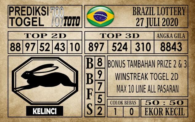 Prediksi Brazil Lottery Hari Ini 27 Juli 2020