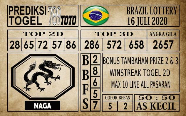 Prediksi Brazil Lottery Hari Ini 16 Juli 2020