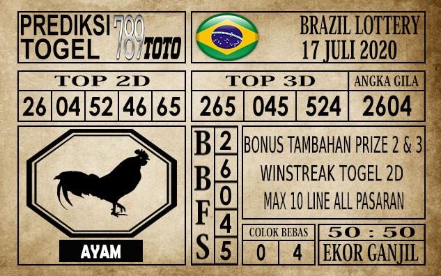 Prediksi Brazil Lottery Hari Ini 17 Juli 2020