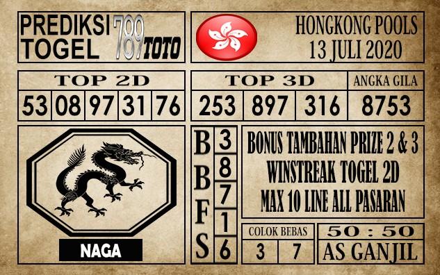 Prediksi Hongkong Pools Hari Ini 13 Juli 2020