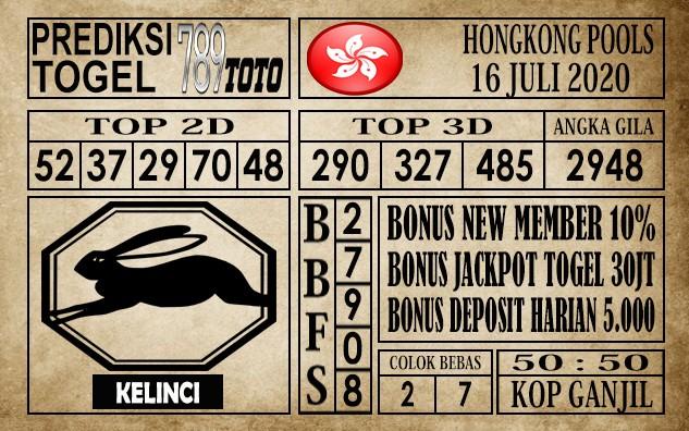 Prediksi Hongkong Pools Hari Ini 16 Juli 2020