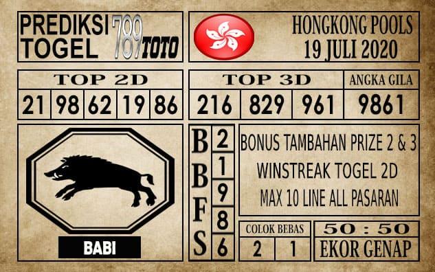Prediksi Hongkong Pools Hari Ini 19 Juli 2020