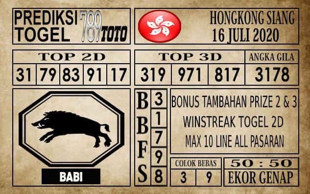 Prediksi Hongkong Siang Hari Ini 16 Juli 2020