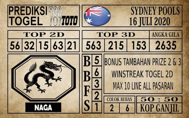 Prediksi Sydney Pools Hari Ini 16 Juli 2020