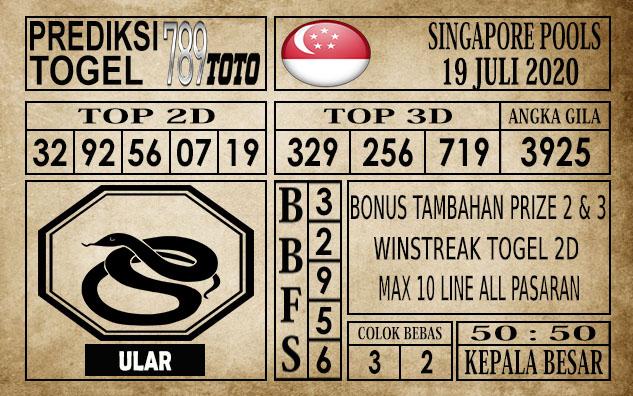 Prediksi Singapore Pools Hari ini 19 Juli 2020