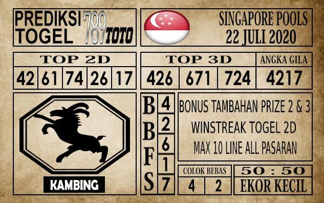 Prediksi Singapore Pools Hari ini 22 Juli 2020