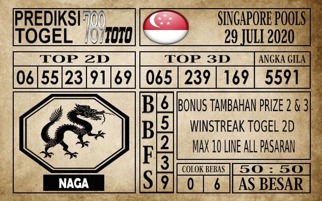 Prediksi Singapore Pools Hari ini 29 Juli 2020
