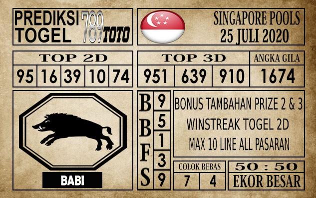 Prediksi Singapore Pools Hari ini 25 Juli 2020