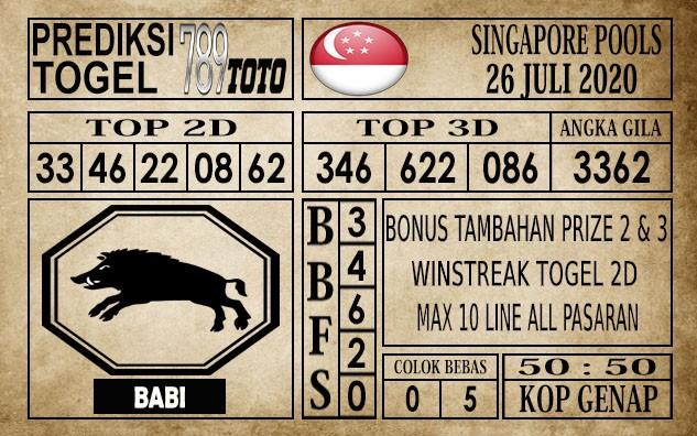 Prediksi Singapore Pools Hari ini 26 Juli 2020