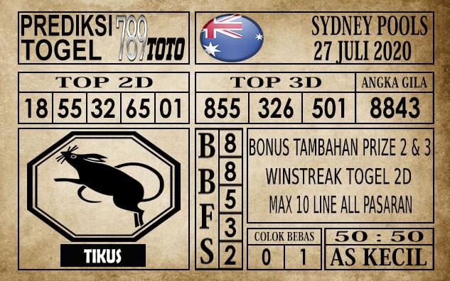 Prediksi Sydney Pools Hari Ini 27 Juli 2020