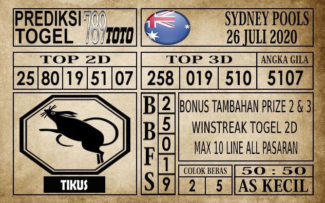 Prediksi Sydney Pools Hari Ini 26 Juli 2020