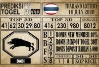 Prediksi Thailand Lottery Hari Ini 16 Juli 2020