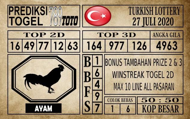 Prediksi Turkish Lottery Hari Ini 27 Juli 2020