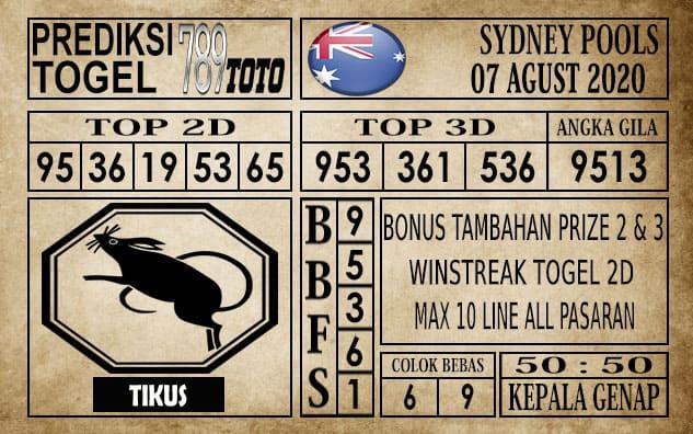 Prediksi Sydney Pools Hari Ini 07 Agustus 2020