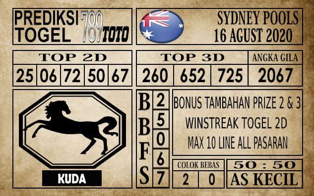 Prediksi Sydney Pools Hari Ini 16 Agustus 2020