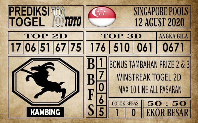 Prediksi Singapore Pools Hari ini 12 Agustus 2020