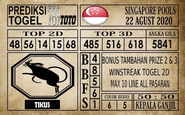 Prediksi Singapore Pools Hari ini 22 Agustus 2020