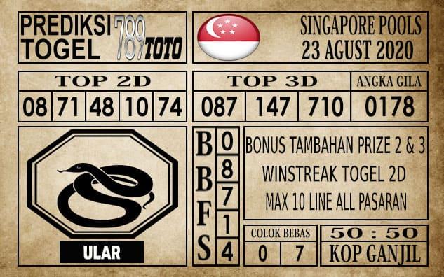 Prediksi Singapore Pools Hari ini 23 Agustus 2020