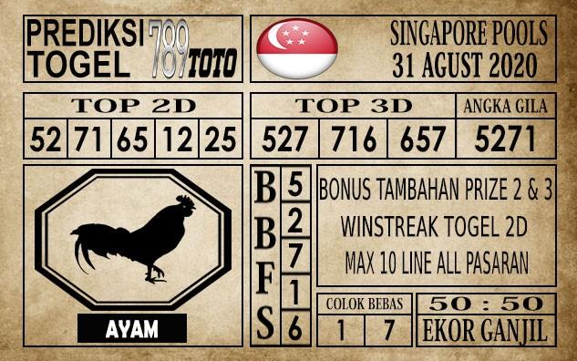 Prediksi Singapore Pools Hari ini 31 Agustus 2020
