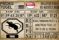 Prediksi Singapore Pools Hari ini 05 Agustus 2020