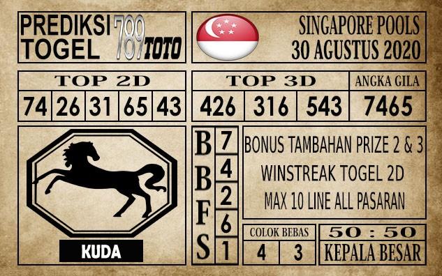Prediksi Singapore Pools Hari ini 30 Agustus 2020