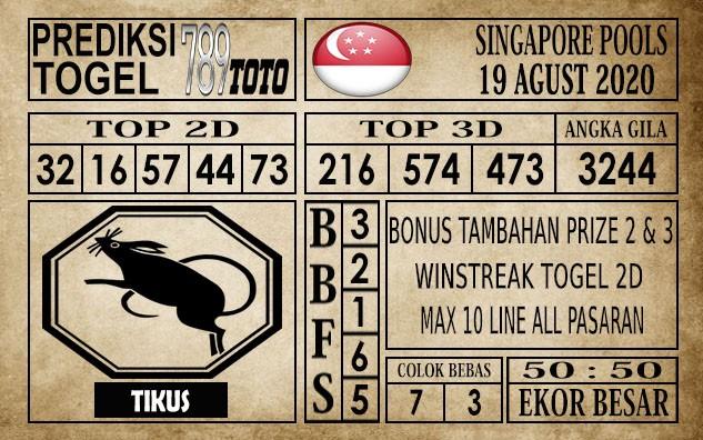 Prediksi Singapore Pools Hari ini 19 Agustus 2020