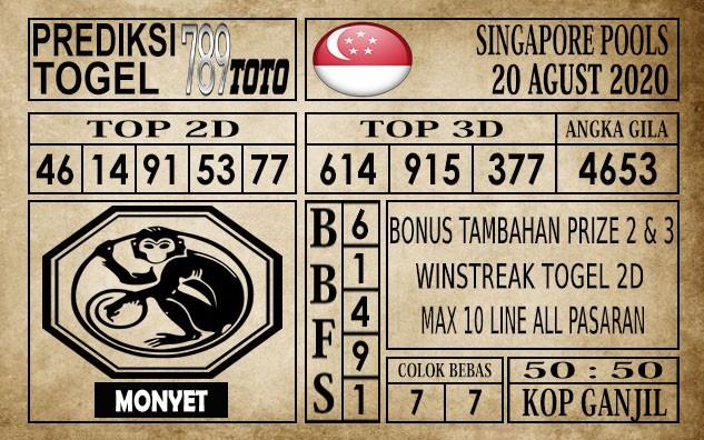Prediksi Singapore Pools Hari ini 20 Agustus 2020