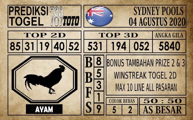 Prediksi Sydney Pools Hari Ini 04 Agustus 2020