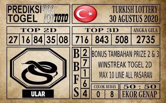 Prediksi Turkish Lottery Hari Ini 30 Agustus 2020