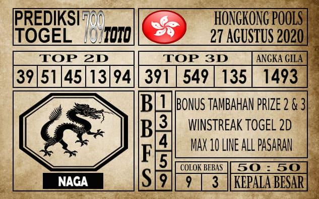 Prediksi Hongkong Pools Hari Ini 27 Agustus 2020