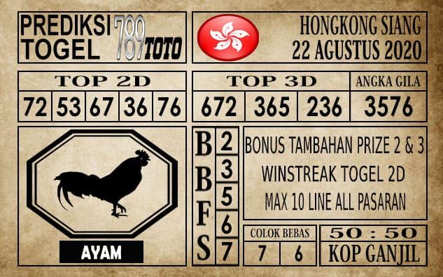 Prediksi Hongkong Siang Hari ini 22 Agustus 2020