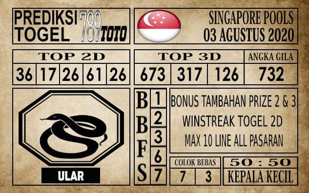 Prediksi Singapore Pools Hari ini 03 Agustus 2020